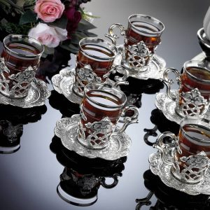 silver turkish tea set
