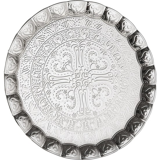 Silver Plated Large Ottoman Serving Tray 35 cm