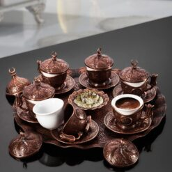 Turkish Coffee Set For Six Person Copper