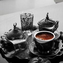 Turkish Coffee Set For Two Person With Glasses Antique