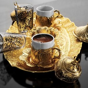 Turkish Coffee Set For Two Person With Glasses Golden
