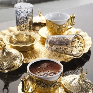 Turkish Coffee Gift Set For Two Person With Glasses Golden