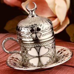 Silver Turkish Coffee -Espresso Coffee Cup Clover Design