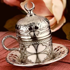 Silver Turkish Coffee -Espresso Coffee Cup Clover Design