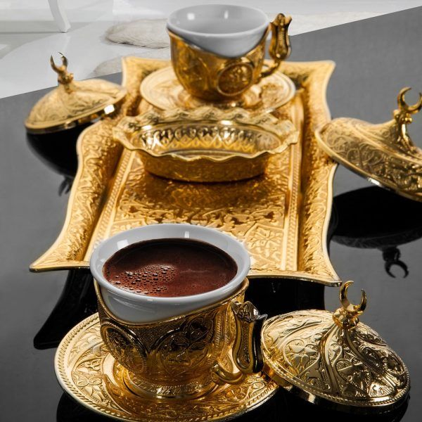 Golden Turkish,Espresso Coffee Set For Two Person