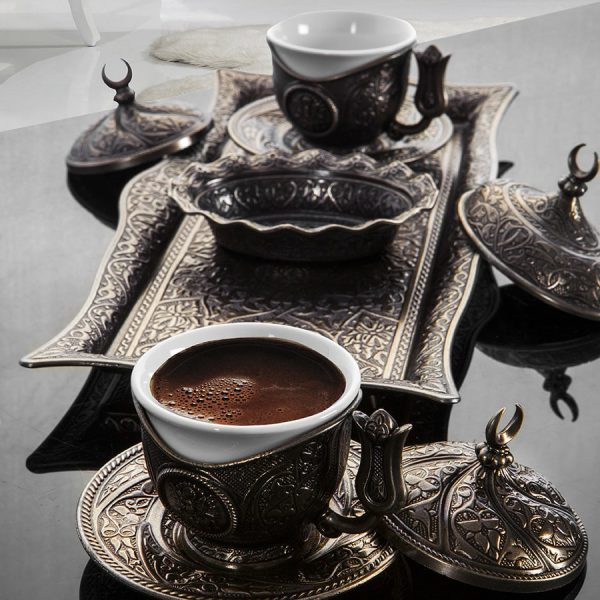 Antique Turkish Coffee Cup Set For Two Person