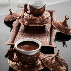 Copper Turkish Coffee Set For Two Person
