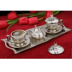 Silver Copper Turkish Coffee Set For Two Person