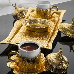 Golden Turkish Coffee Set For Two Person Tulip Design