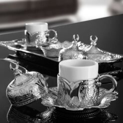 Silver Turkish Coffee Set For Two Person Tulip Design