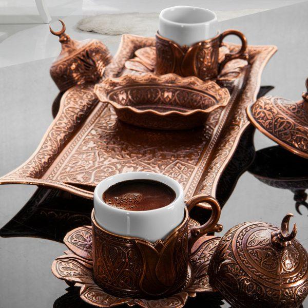 Copper Turkish Coffee Set For Two Person Tulip Design