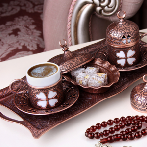 Copper  Turkish Coffee Set For Two Person Clover Design