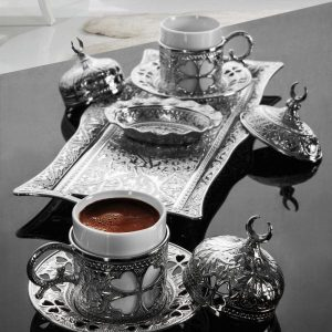 Silver Turkish Coffee Set For Two Person Clover Design