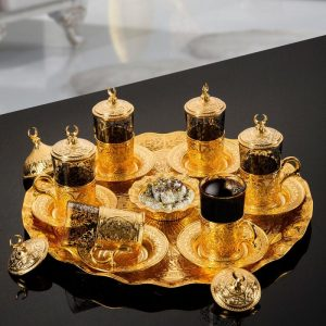 Middle Eastern Tea Set For  Six People With Tray