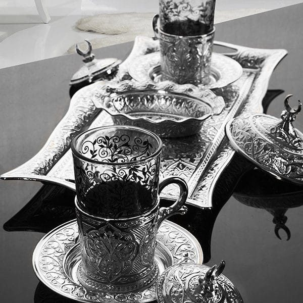 Silver Turkish Tea Set For Two People with Tray