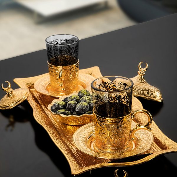 Golden Turkish Glasses  Tea Set  With Tray
