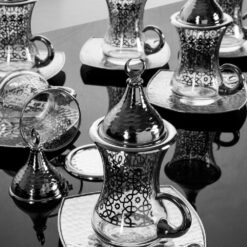 Silver Turkish Tea Glasses Set For Six People