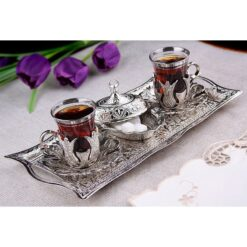 Silver Turkish Tea Glasses Set For Two People with Tray