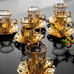 Turkish Tea Cups And Saucers Set For Six People