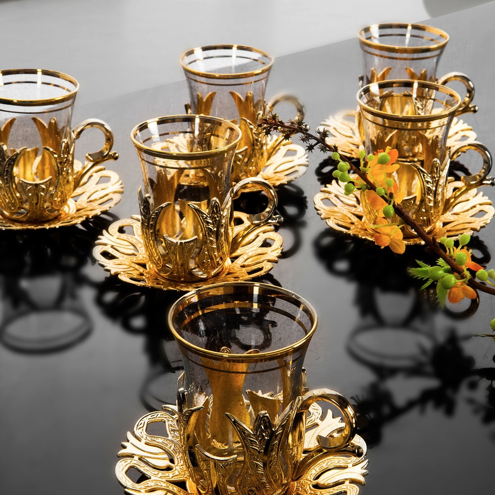 Turkish Tea Cups And Saucers Set For Six People Fairturk Com