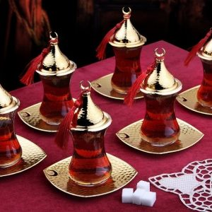 Gold Turkish Tea Glasses Set Six Pieces