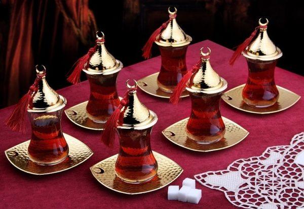 Gold Turkish Tea Glasses Set Six Pieces