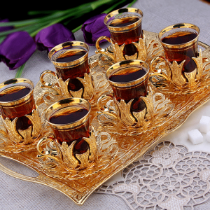 Golden Turkish Tea Glasses Set For Six Person