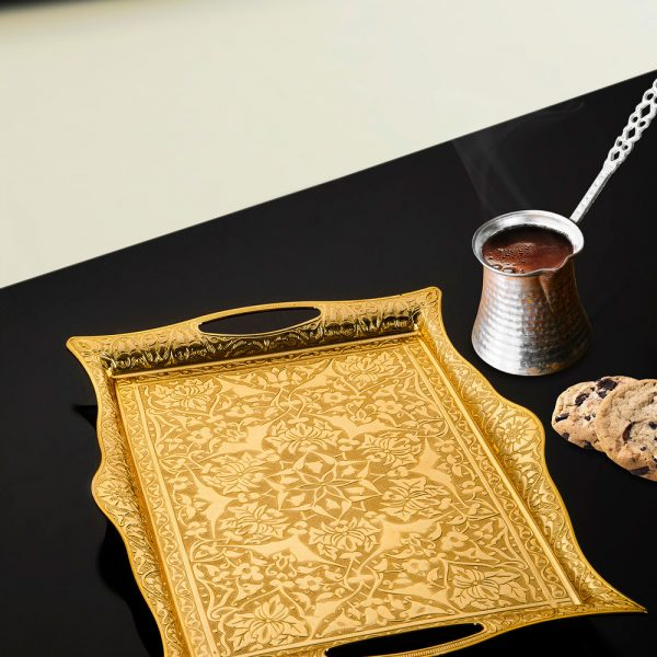 Golden Color Serving  Tray For Ottoman