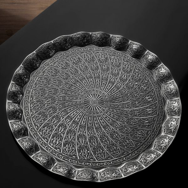 Ottoman Round Decorative Tray Antique Drawn