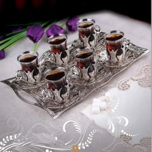 Silver Turkish Tea Glasses Set For Six Person