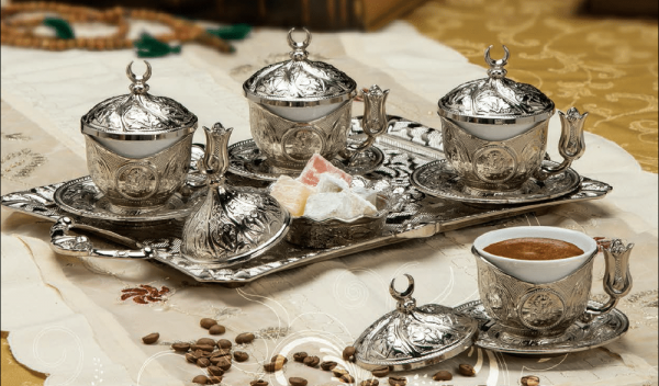 Silver Turkish Coffee Set For Four Person