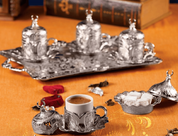 Silver Turkish Coffee Set For Four Person Tulip Design