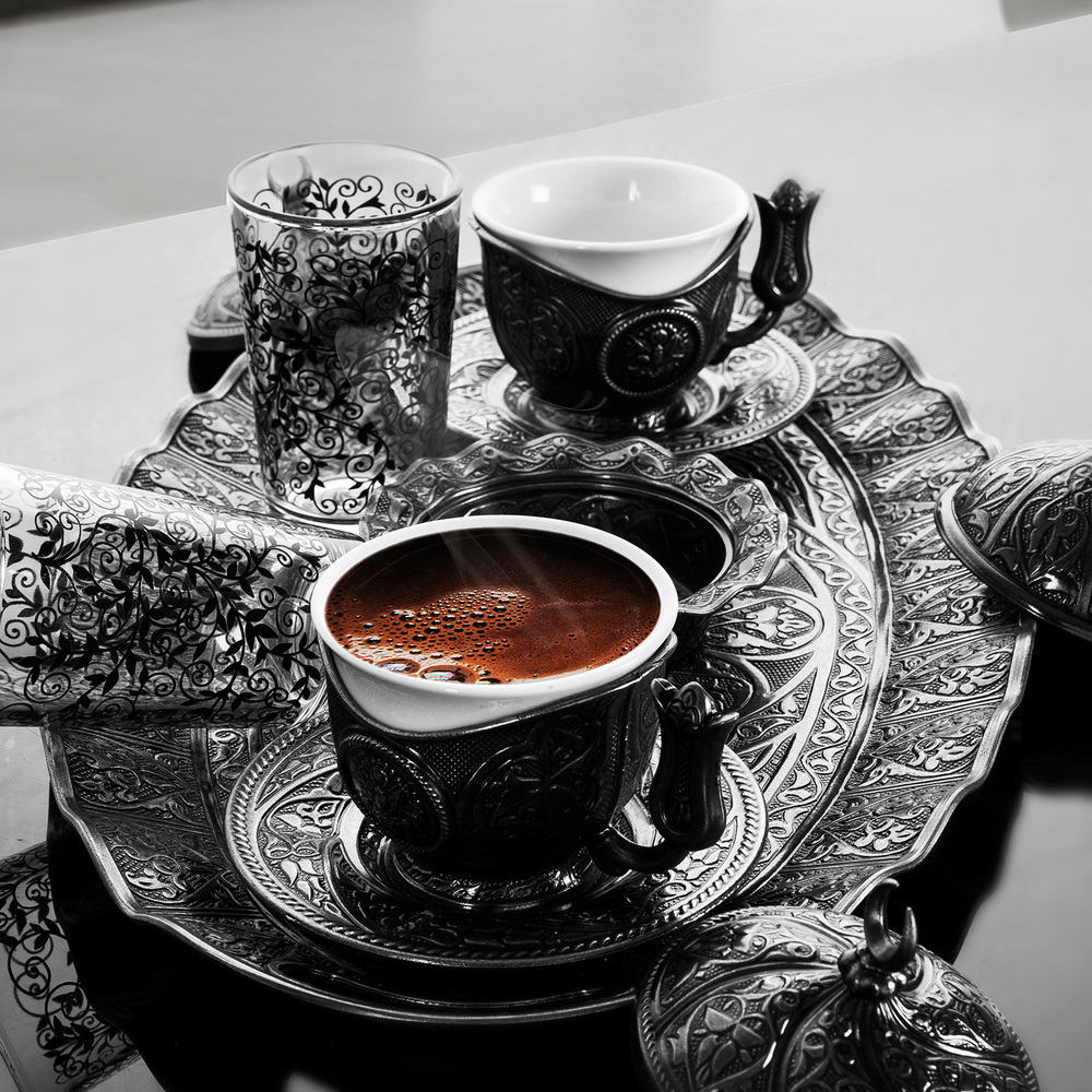 Turkish Coffee Set For Two Person Antique Yellow ...