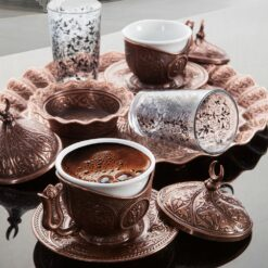 Turkish Coffee Set For Two Person With Glasses