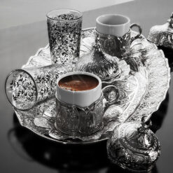 Turkish Coffee Cup Set For Two Person With Glasses
