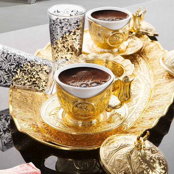Gold Plated Turkish Coffee Set For Two Person With Glasses