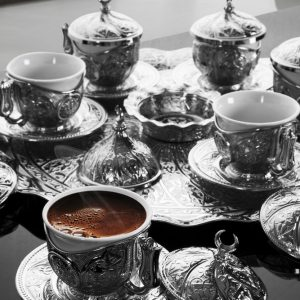 Turkish Coffee Set For Six Person Silver