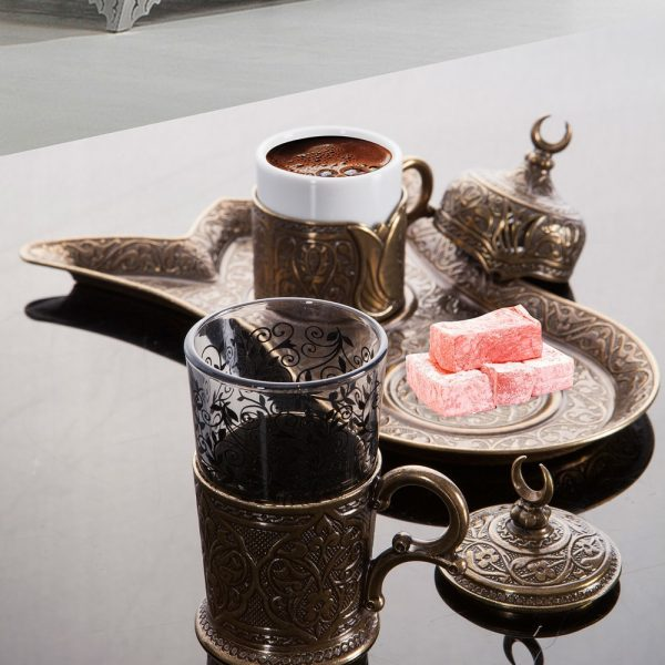 Turkish Coffee Set for One Person with Glass