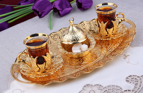 Gold Plated Turkish Tea Glasses Set For Two People with Tray
