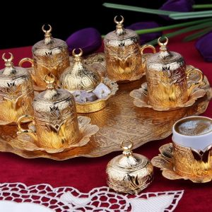 Gold Plated Turkish Coffee Cup Set For Six