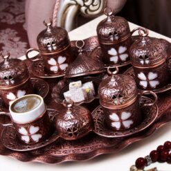 Copper Plated Turkish Coffee Set For Six Person