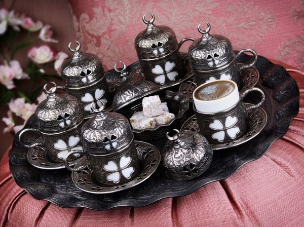 Antique Silver  Plated Turkish Coffee Set For Six Person