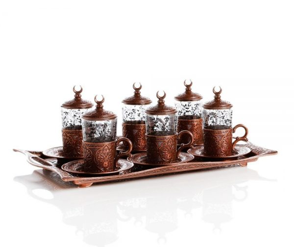 Copper Plated Turkish Tea Set For Six People With Tray