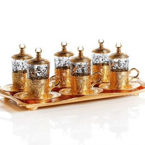 Gold Colour Turkish Tea Set For Six People With Tray