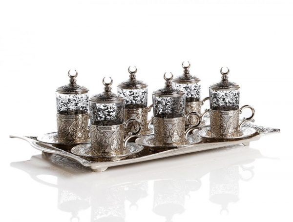 Silver Plated Turkish Tea Set For Six People With Tray