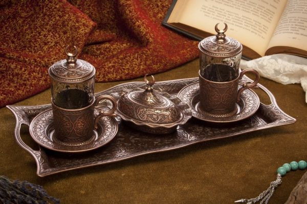 Copper Tea Set For Two With Tray