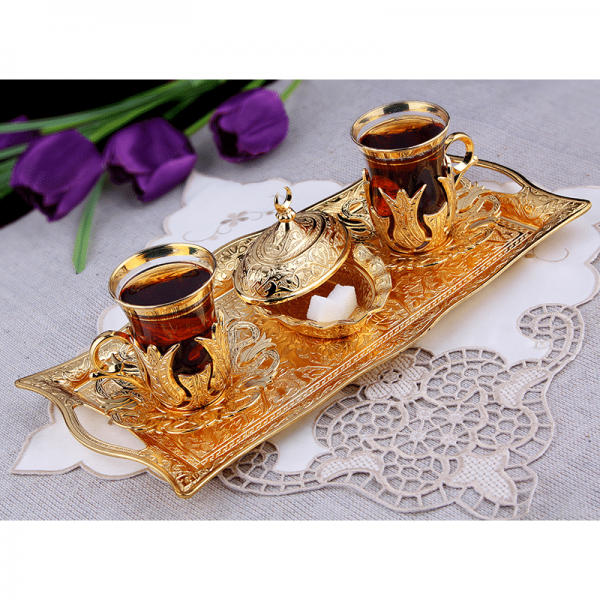 Gold Colour Turkish Tea Glasses Set For Two People with Tray