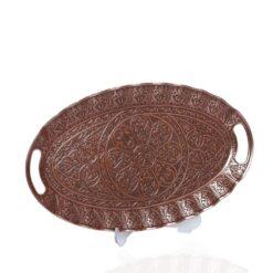 Ellipse Copper Plated  Decorative Ottoman Serving Tray