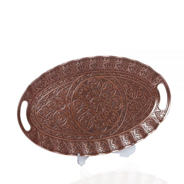 Ellipse Copper Plated Decorative Ottoman Serving Tray