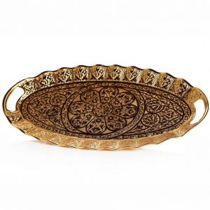 Ellipse Gold Color Decorative Ottoman Serving Tray